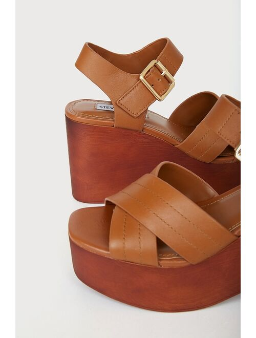 Steve Madden Thriving Cognac Tan Leather Platform Sandals