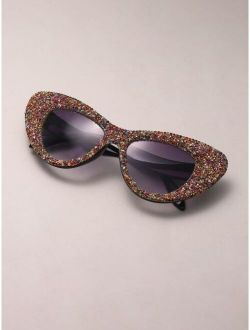 Rhinestone Decor Cat Eye Sunglasses