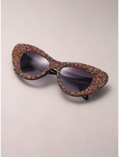 Shein Rhinestone Decor Cat Eye Sunglasses