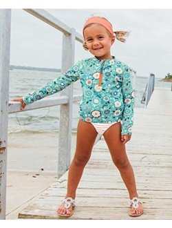 Baby/toddler Girls Long Sleeve Rash Guard 2 Piece Swimsuit Set W/upf 50+ Sun Protection With Zipper