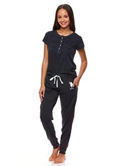 Womens Pajama Set With Pockets - Short Sleeve Shirt And Pajama Pants Pj Set