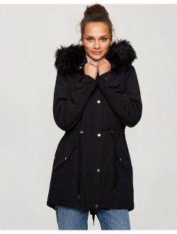Miss Selfridge LUXE parka in black
