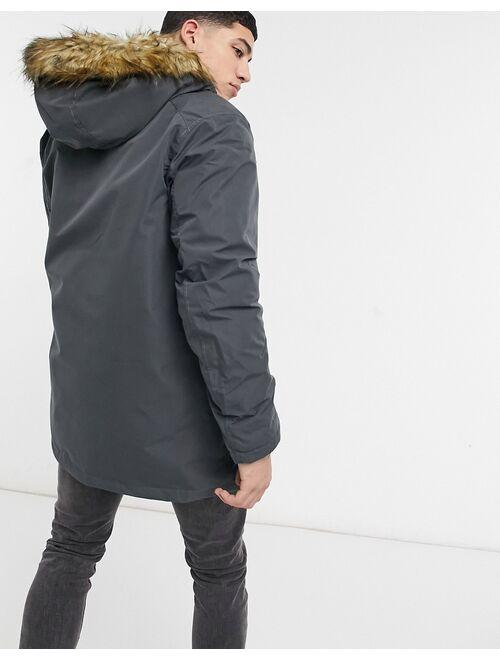Jack & Jones Originals parka with faux fur hood in gray