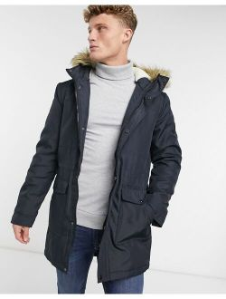 Only & Sons parka with teddy lined hood and removable faux fur trim in navy