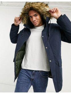 Jack & Jones Originals parka with faux fur hood in navy