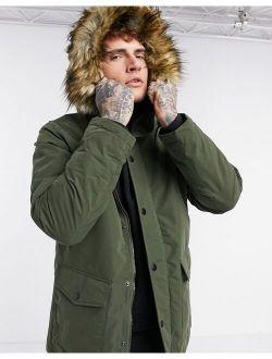 Jack & Jones Originals parka with faux fur hood in khaki