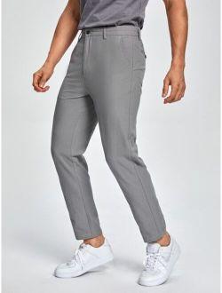 Men Solid Slant Pocket Suit Pants