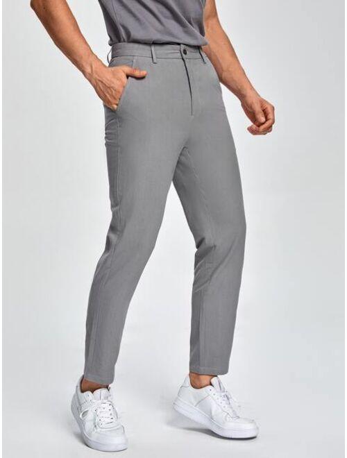 Shein Men Solid Slant Pocket Suit Pants