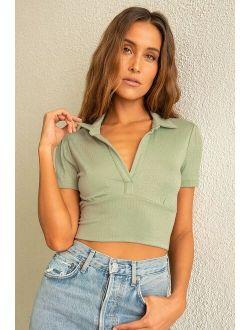 Lookin' Flirty Sage Green Ribbed Collared Short Sleeve Crop Top