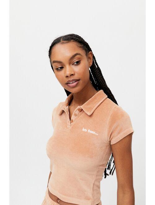 iets frans... iets frans… Velour Shrunken Polo Shirt