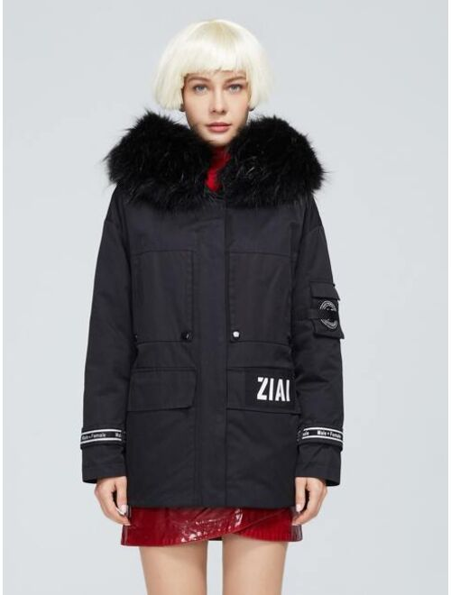 ZIAI Letter Tape Patch Detail Hooded Parka Coat