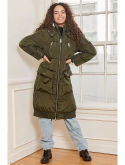 Feeling Frosty Olive Green Quilted Long Puffer Jacket