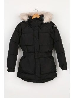 NOIZE Anika Black Quilted Faux Fur Hood Parka Jacket