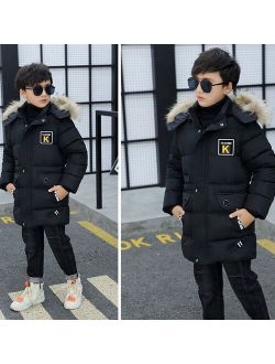 Winter Kid Jacket Boy Park Children's Clothing Boys  Winter Clothing Hooded Jacket Thick Cotton -30 Degrees HPY002