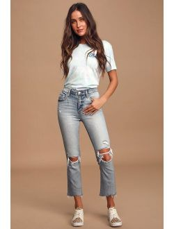 DAZE DENIM Shy Girl Light Wash High-Waisted Distressed Cropped Flair Jeans