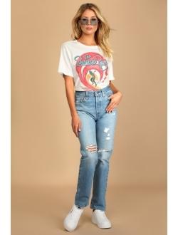 501 Original Fit Distressed Medium Wash High-Rise Jeans