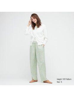 WOMEN PRINTED DRAPE STRAIGHT PANTS