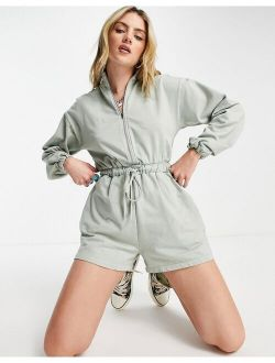 Zip Front Sweat Romper In Washed Khaki