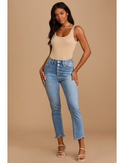 Top Choice Light Wash Distressed Denim High Rise Straight Jeans