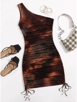 One Shoulder Drawstring Knot Ruched Tie Dye Dress