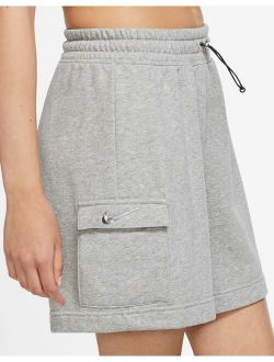 Swoosh high rise utility shorts in gray heather