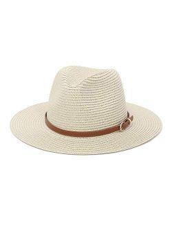 Straw Sun Hats for Women Men Panama Fedora Summer Wide Brim Beach Hat Packable