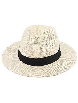 Besoogii Mens Women's Wide Brim Fedora Hat Sun Beach Panama Hat