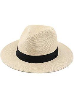 Melesh Straw Fedora Hat for Women Men Fine Braid Wide Brim Sun Beach Panama Hat