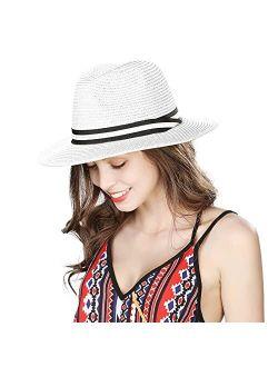 Womens Straw Fedora Brim Panama Beach Havana Summer Sun Hat for Men Party Floppy