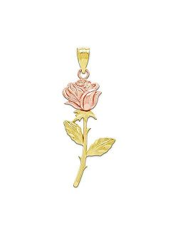 Charm America - Gold Long Stem Rose Charm - 10 Karat Solid Yellow and Rose Gold