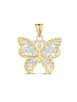 Elegant 10k Two-Tone Yellow Gold Filigree & Sparkle-Cut Butterfly Charm Pendant