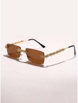Rhinestone Decor Square Rimless Sunglasses