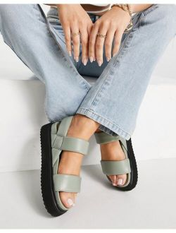 Fetch Chunky Padded Sandals In Sage Green