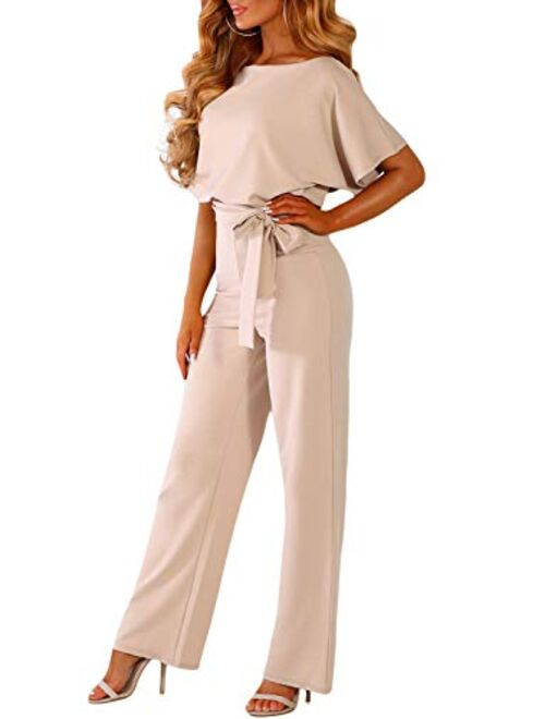 Happy Sailed Women Casual Loose Short Sleeve Belted Wide Leg Pant Romper Jumpsuits