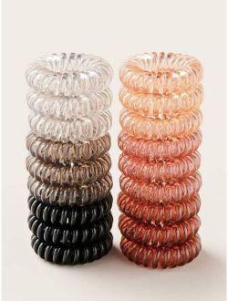 18pcs Plain Coil Wire Hair Tie