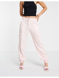 utility Solid Cargo Pants in pink