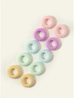 10pcs Solid Coil Hair Tie
