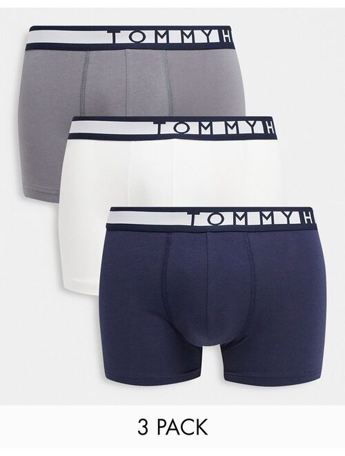 Tommy Hilfiger 3 pack trunks in white/black/gray with logo waistband