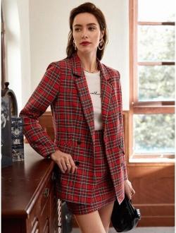 Notched Collar Double Breasted Tartan Blazer & Skirt Set