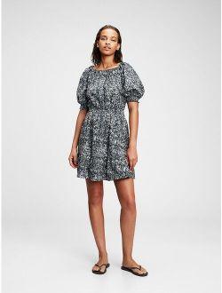 Scoop Neck Printed Casual Mini Dress