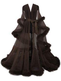 PearlBridal Women's Sexy Robe Illusion Long Lingerie Nightgown Perspective Sheer Bathrobe Sleepwear Wedding Scarf