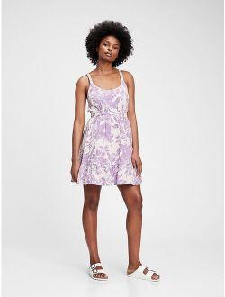 Scoopneck Fit & Flare Floral Printed Mini Dress