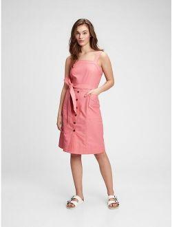 Linen-Cotton At Waist Apron Dress