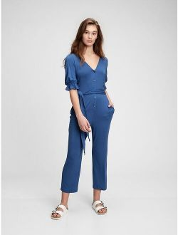 Button-Front Relaxed Fit Jumpsuit