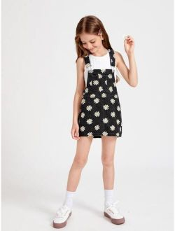 Girls Daisy Print Pocket Front Denim Overall Dress