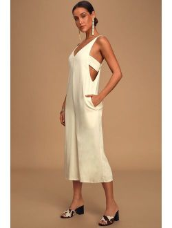Rest and Relaxation Beige Culotte Jumpsuit