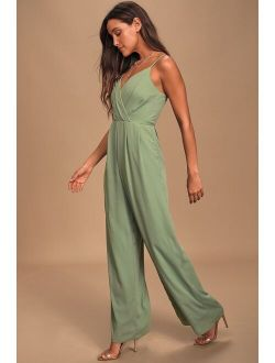 Call For Me Sage Green Faux Wrap Jumpsuit