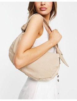 Hvisk Vegan Moon shoulder bag with knot handle detail in beige