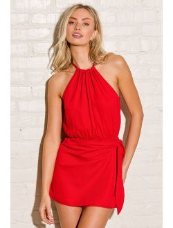 Take Us Out Red Tie-Back Faux Wrap Skort Romper