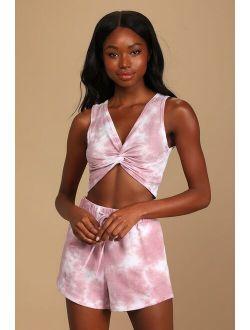 Cozy Livin' Rose Pink Tie-Dye Twist-Front Crop Top